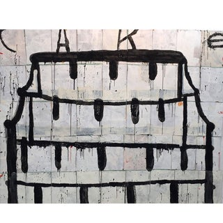 Large Black and White Cake Painting, Oil on Paper Bag by Gary Komarin