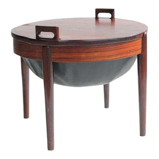 1960s Mid-Century Modern Rosewood & Leather Stool/Side Table by B. J. Hansen For Sale