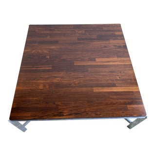 Mid Century Modern Rosewood and Chrome Coffee Table For Sale