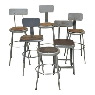 Vintage Industrial Steel Metal Drafting Work Stools Chairs- Set of 6 For Sale
