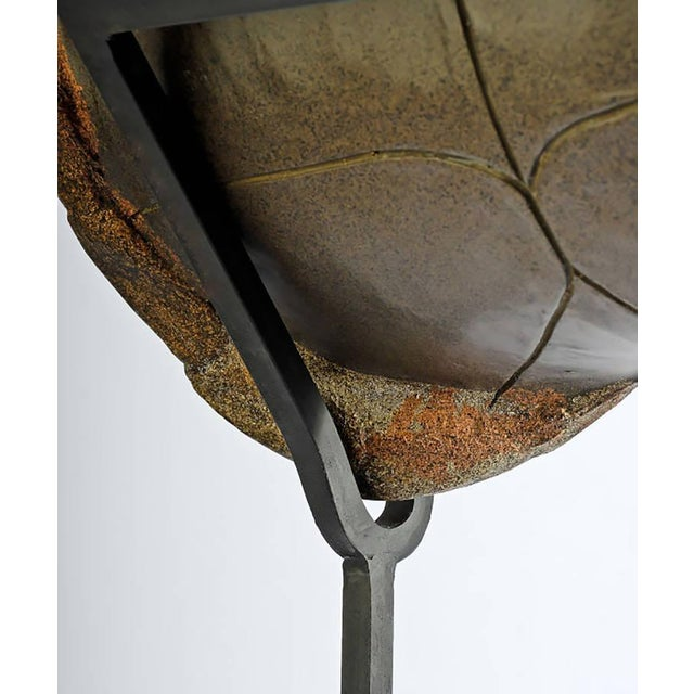 Decorative Faux Turtle Shell on Wrought Iron Stand - Image 5 of 8