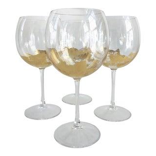 Artist Signed Gold Stemmed Wine Glasses For Sale