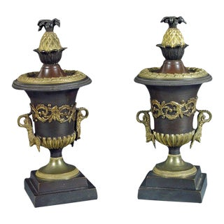 Bronze and Ormolu Candlestick Urns With Reversible Tops - A Pair For Sale