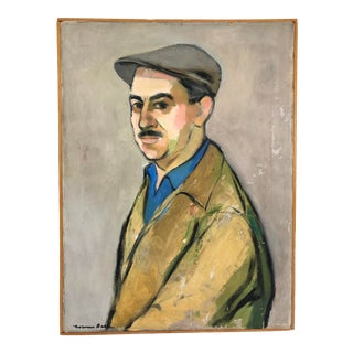 1959 Oil on Canvas Portrait Man in Newsboy Cap Signed Norman Barr For Sale