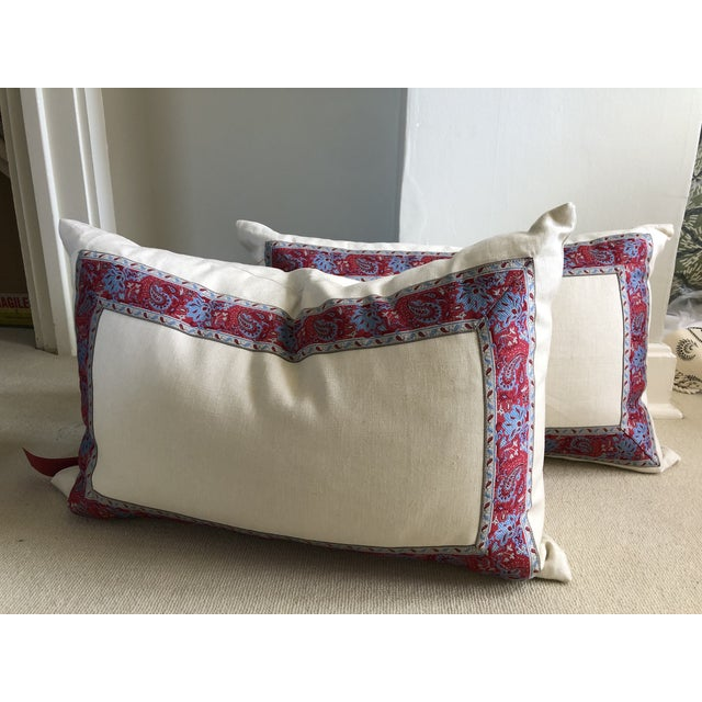 English Vintage Paisley Trim Pillows - a Pair For Sale - Image 3 of 8