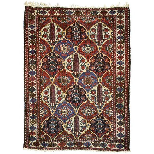 Blue Antique Persian Bakhtiari Rug with Four Seasons Garden Design For Sale - Image 8 of 8