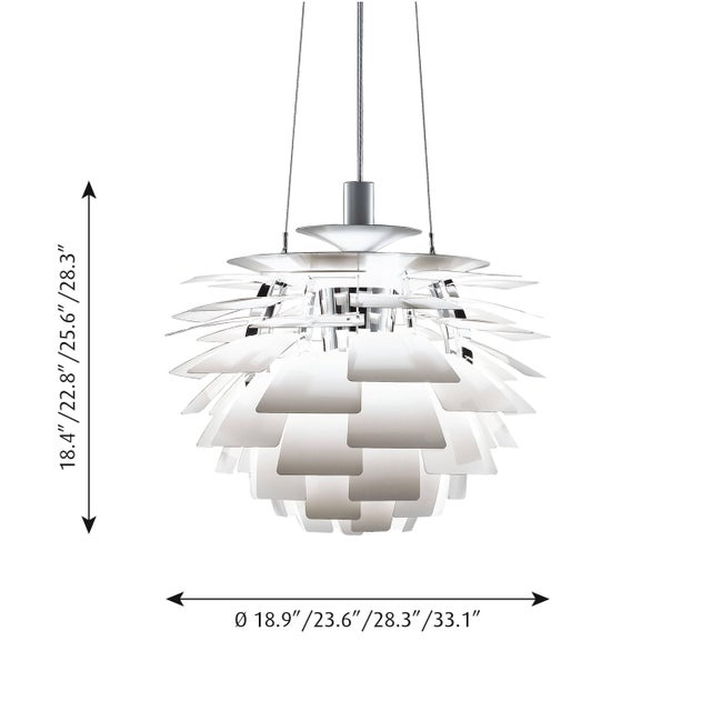 Mid-Century Modern Poul Henningsen White PH Artichoke Chandelier for Louis Poulsen For Sale - Image 3 of 6