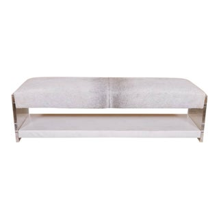 Modern Lucite and Hair on Hide Bench For Sale