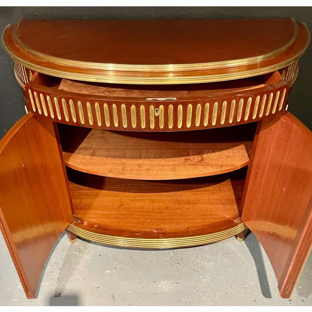 Pair of Mahogany Demilune Servers, Commodes Nightstands, Russian Neoclassical For Sale - Image 12 of 13