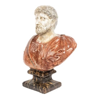 Italian Painted Roman Emperor Bust For Sale
