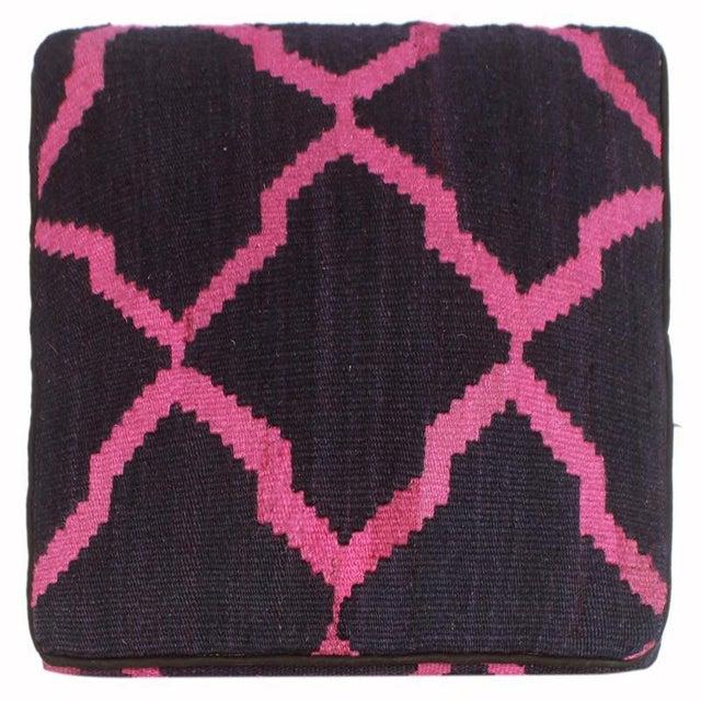 Arshs Deirdre Blue/Pink Kilim Upholstered Handmade Ottoman For Sale - Image 4 of 8