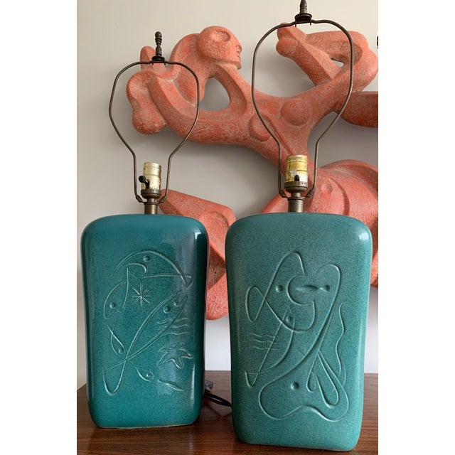 1950s Atomic Fish Ceramic Mid-Century Modern Lamps - a Pair For Sale - Image 12 of 12
