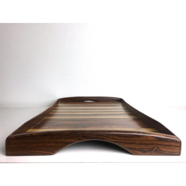 Rare vintage exotic wood tray by Don Shoemaker for Senal Mexico 1960s Bowed form with inlaid mixed wood surface and...