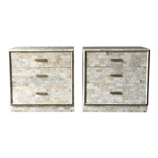 Tessellated Stone Nightstands by Maitland Smith - A Pair For Sale
