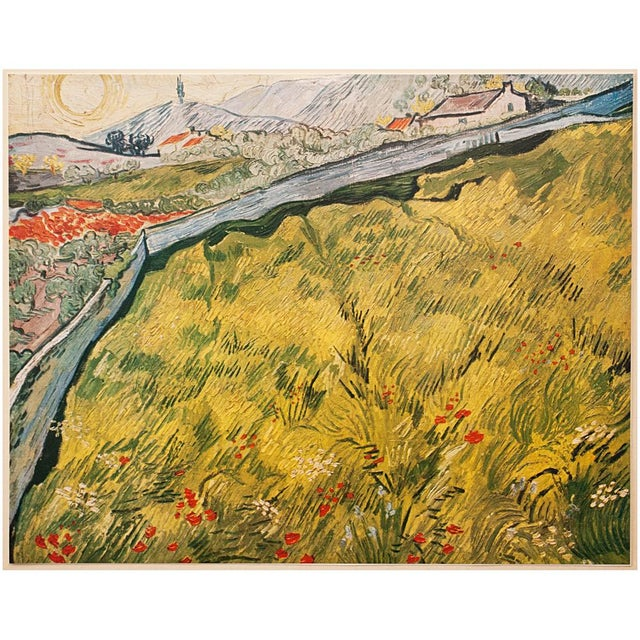"""A beautiful vintage tipped-in lithograph after painting """"The Wheat Field"""" by Vincent Van Gogh. Attached to a heavy sheet..."""