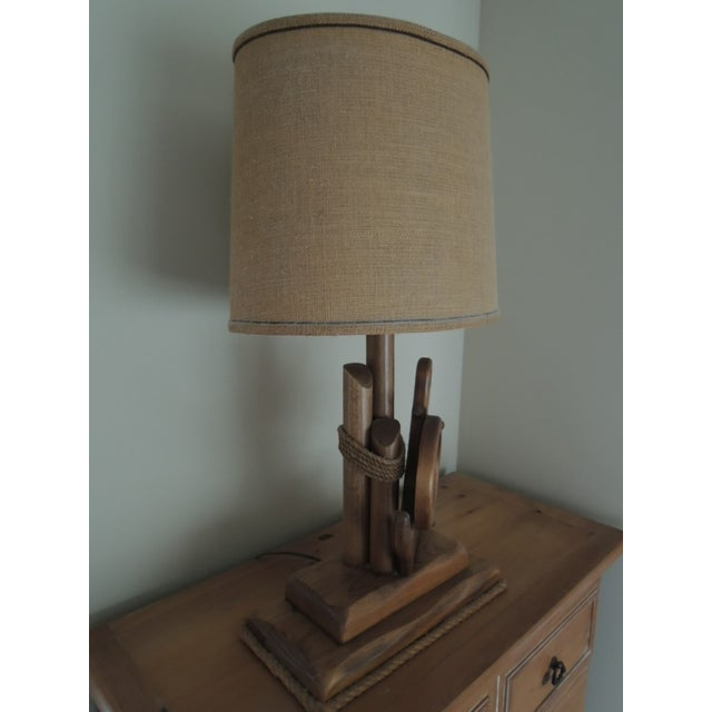 Nautical Hand Crafted Pine Wood Lamps - A Pair For Sale In Chicago - Image 6 of 13
