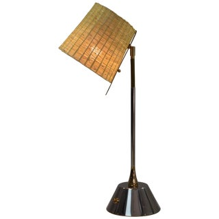 Infinitus-II Contemporary Articulating Brass and Rattan Lamp, Flow Collection For Sale
