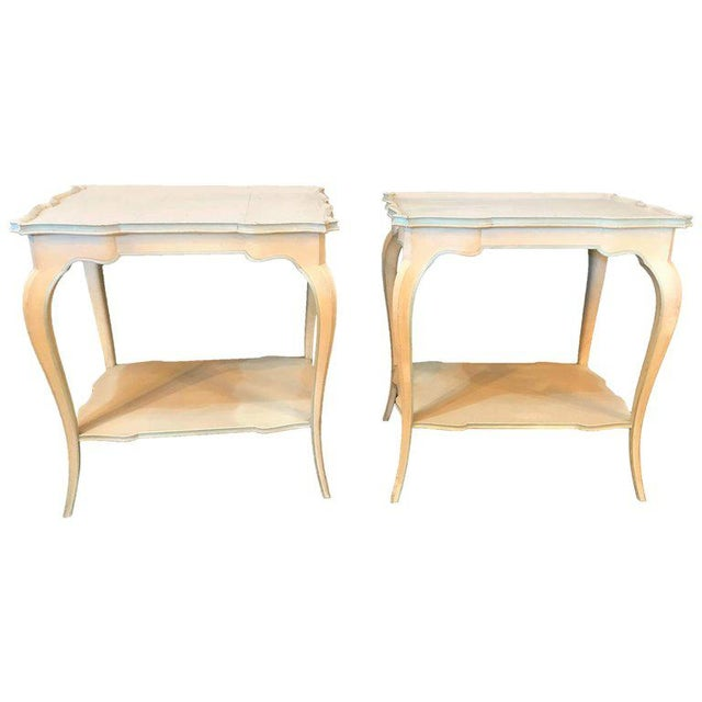 Distressed Paint Decorated Maison Jansen Side Tables or Night Tables - a Pair For Sale - Image 11 of 12