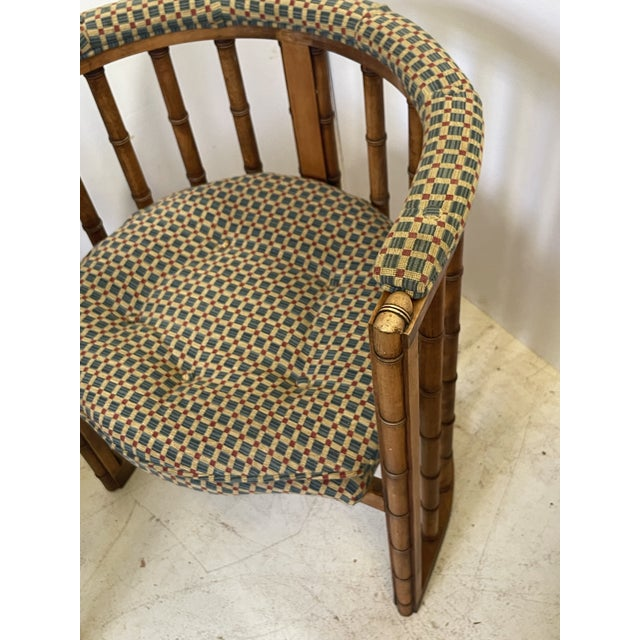Vintage Set of 4 Bamboo Barrel Back Game Chairs For Sale - Image 11 of 13