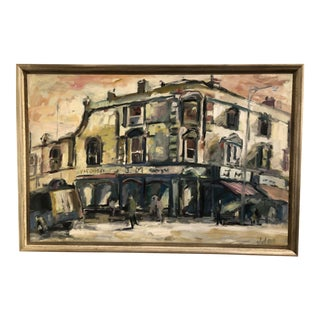 French Street Scene Oil on Canvas