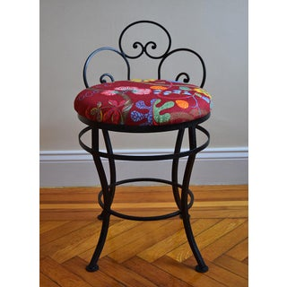 1950s Mid-Century Modern Josef Frank Fabric Upholstered Wrought Iron Chair Preview