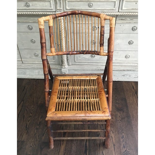 Brown 1970s Vintage Tortoiseshell Bamboo Folding Chair For Sale - Image 8 of 8