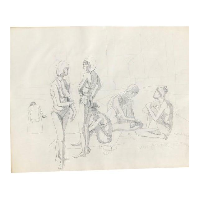 Original Midcentury California Bikini Sketch - Image 1 of 5