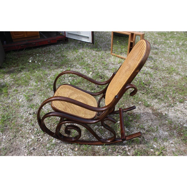 Vintage Rattan Rocking Chair For Sale - Image 4 of 9