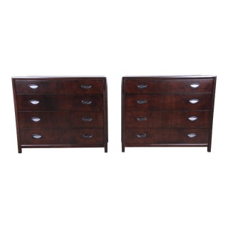 Michael Taylor for Baker Dark Cherry Bachelor Chests or Large Nightstands, Newly Restored For Sale