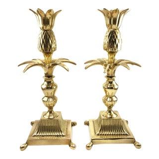 Hollywood Regency Brass Pineapple Palm Candlesticks - A pair