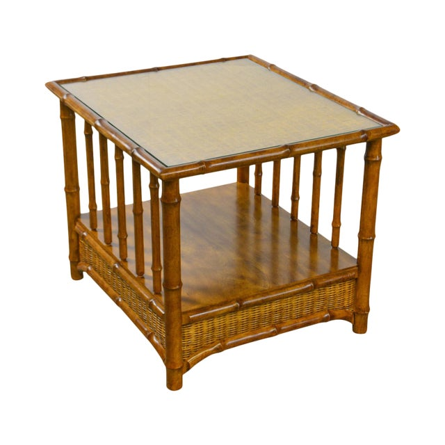 Faux Bamboo & Wicker Side Table by American of Martinsville For Sale