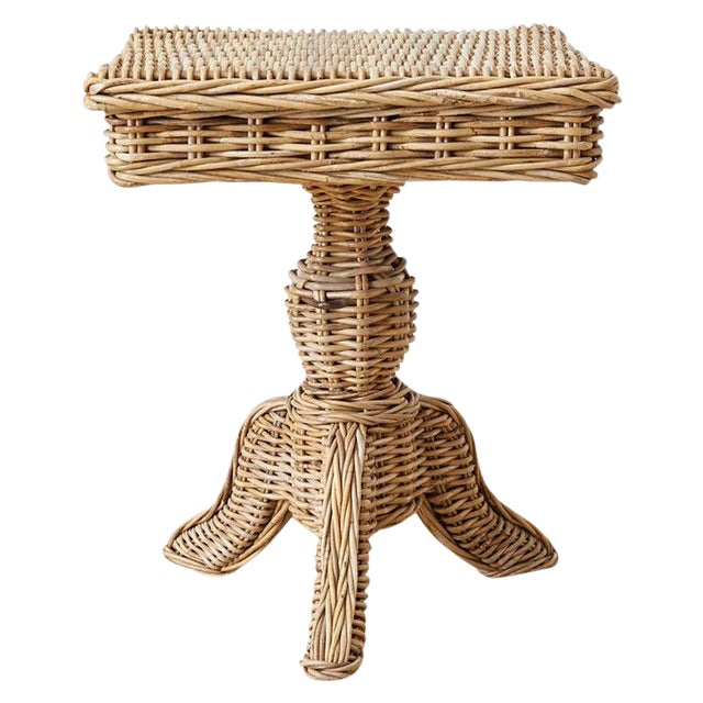 Woven Wicker and Rattan Pedestal Center Table For Sale