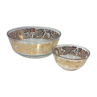 Georges Briard Gilded Floral Serving Bowls - Pair For Sale