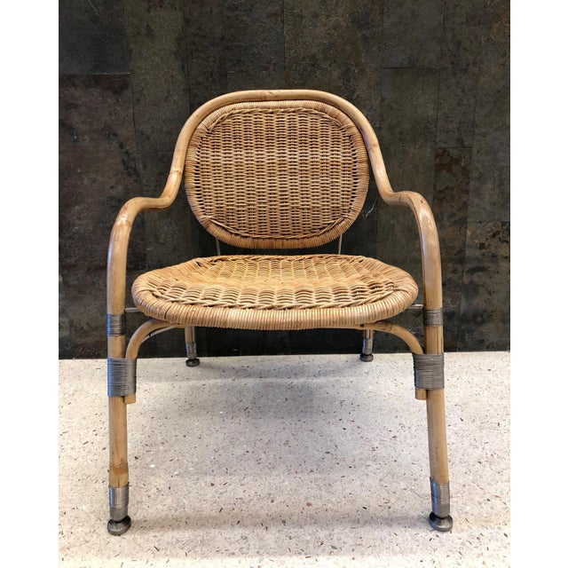 Pair of Mats Theselius Cane / Rattan Chairs with brushed wired steel trim. Mats Theselius for Ikea PS unlimited edition.