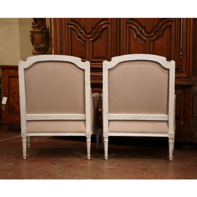 Tan 19th Century French Louis XVI Carved Painted Armchairs With Beige Fabric - a Pair For Sale - Image 8 of 9