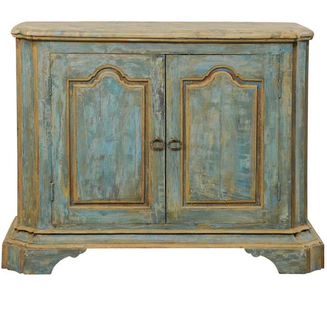 Custom Vintage Italian Style Two-Door Painted Wood American Buffet Console For Sale - Image 10 of 10