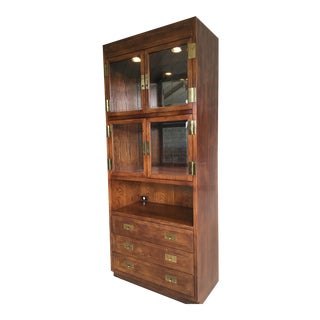 Henredon Folio Campaign Style Lighted Walnut Display Cabinet For Sale
