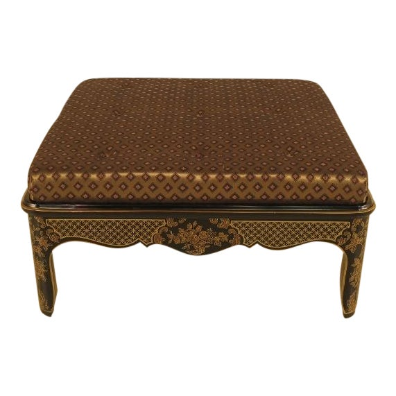 Large Upholstered Chinoiserie Bench For Sale
