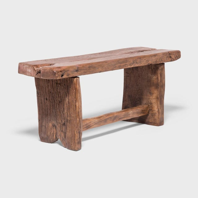 Wood Provincial Chinese Reclaimed Elm Bench For Sale - Image 7 of 7