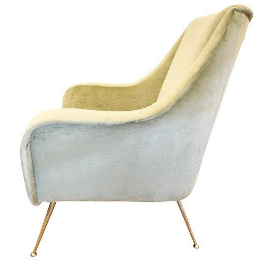 1950s Pair of Light Green Mid-Century Lounge Chairs For Sale - Image 5 of 8