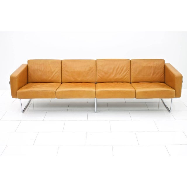 Animal Skin Rare Four-Seat Leather Sofa by Hans Eichenberger for Strässle, Switzerland For Sale - Image 7 of 9