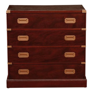 Midcentury Campaign Style Mahogany Chest of Drawers
