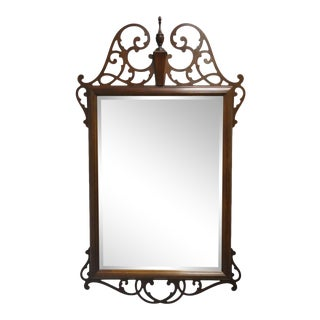 Vintage American Federal Mahogany Beveled Glass Broken Arch Fretwork Wall Mirror For Sale