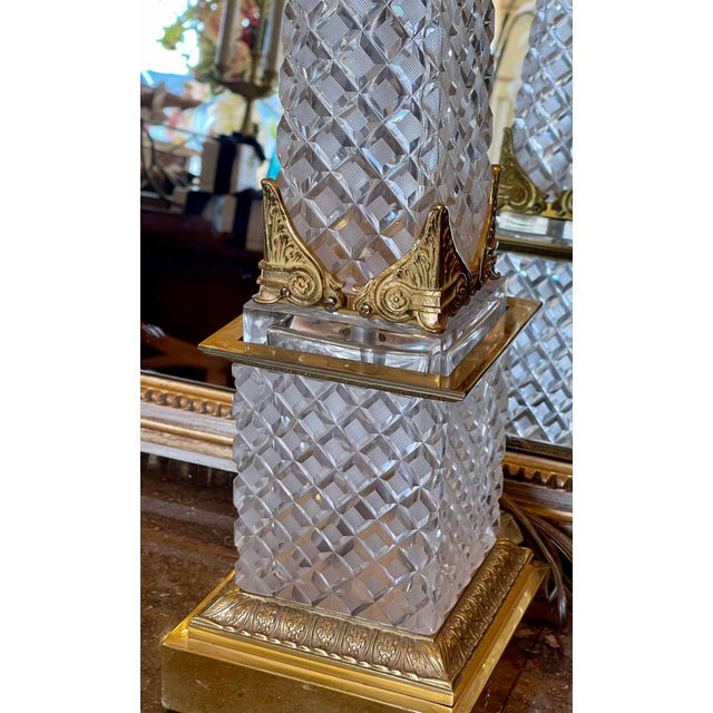 Massive Baccarat French Crystal Obelisk Table Lamp For Sale In Los Angeles - Image 6 of 8