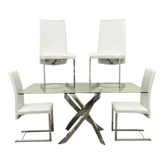 Modern White & Chrome X-Base Glass Dining Set For Sale