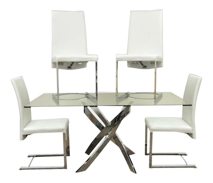 Modern White U0026 Chrome X Base Glass Dining Set