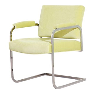 Vintage 1970s Chrome Cantilever Armchair in Light Green For Sale