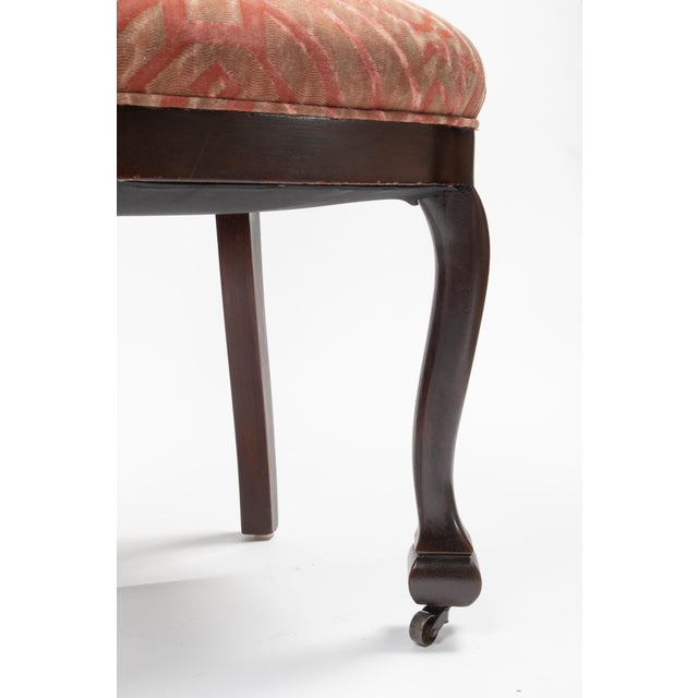Wood Mahogany Antique Chairs in Fortuny Fabric For Sale - Image 7 of 9