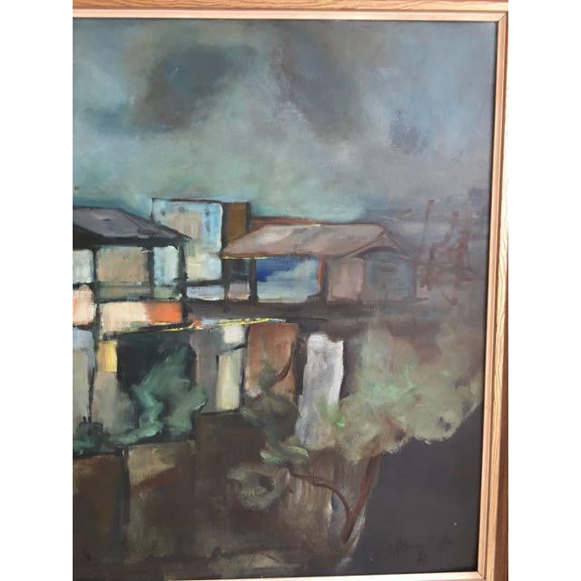 """Modern Swedish """"Building in Moonlight"""" Painting - Image 6 of 9"""