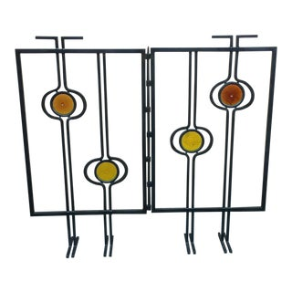 Mid-Century Iron & Glass Hand Wrought Welded Fireplace Screen or Small Room Divider